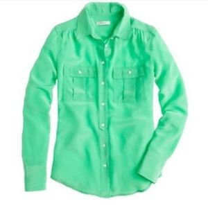 J. Crew Blythe Blouse in Green Size 2